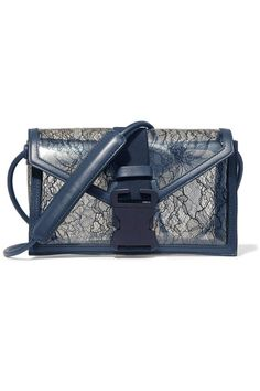 Clear PVC, midnight-blue lace and leather (Calf) Push lock-fastening front flap Weighs approximately 1.3lbs/ 0.6kg   Made in Italy