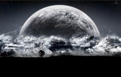 paisaje de noche con luna