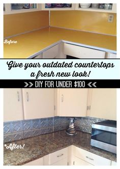 "Kitchen makeover on a budget! Update existing countertops with Giani Granite Countertop Paint. #DIY ""I used the Chocolate Brown kit to do my countertop transformation on my 1970's style mustard yellow laminate countertops! The kit was so easy to use and turned out great! I have been telling EVERYONE about this awesome product!"" - Angie B."