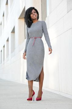8fe31af27a Long Sleeves Round Neck Split Pure Color Tee-length Knit Dress