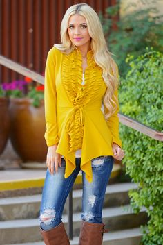 Begin Again Ruffle Front Cardigan - Mustard from Closet Candy Boutique