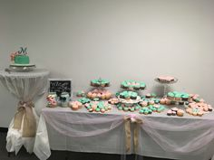 Cake and cupcake table at wedding KDR
