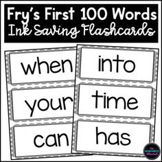 These stunning black and white flash cards include Fry's first 100 words. They are provided with three word-cards per page and have a beautiful classic and ink-saving design. Ideal for bulletin boards or use with the whole class, groups or individuals. #flashcards