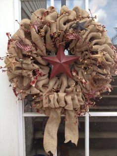 Burlap wreath Primitive wreath Decor by TranquilitybyAney Burlap Projects, Burlap Crafts, Wreath Crafts, Diy Wreath, Wreath Ideas, Primitive Wreath, Primitive Crafts, Primitive Country, Western Wreaths