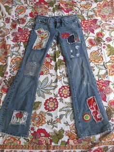 Miss Me Vintage Hippie Patch Jeans Super retro!