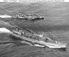 USS Kaskaskia (AO-27) and  USS Hart (DD-594): Separate, after refueling at sea on 23 December 1944. Photographed from a blimp of squadron ZP-31.This was one of a series of experimental refuelings conducted by these two ships during 12-23 December 1944 to develop improved fueling at sea techniques.  Hart's camouflage is Measure 31 Design 16d. Official U.S. Navy Photograph, now in the collections of the National Archives.