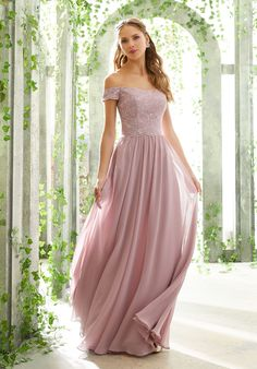 Chantilly Lace and Chiffon Bridesmaid Dress Mori Lee Bridesmaid Dresses, Lace Bridesmaid Dresses, Prom Dresses, Wedding Bridesmaids, Formal Dresses, Wedding Dress Hire, Wedding Dresses, Bridal Gowns, Look Chic