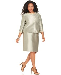 Tahari by ASL Plus Size Suit, Three-Quarter-Sleeve Pearl-Trim Jacket & Skirt - Tahari - Plus Sizes - Macy's