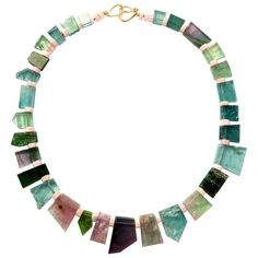 Ionescu Design Tourmaline Gold Necklace | From a unique collection of vintage more necklaces at https://www.1stdibs.com/jewelry/necklaces/more-necklaces/