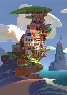 House And Sea, Chaichan Artwichai on ArtStation at https://www.artstation.com/artwork/d61z3