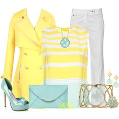 Lemon yellow, light turquoise and white.  Summer Punch of Color by kginger on Polyvore
