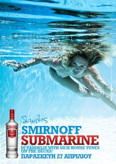 poster for event #minimal #photography #underwater #typography #blue #smirnoff