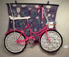 """Crochet Bike at The Bike Project    The Bike Project is a """"Visual, Literary and Cinematic Exploration of Biking in Our World"""" conceived by Frederick artist Becky Bafford running through November 15, 2009."""