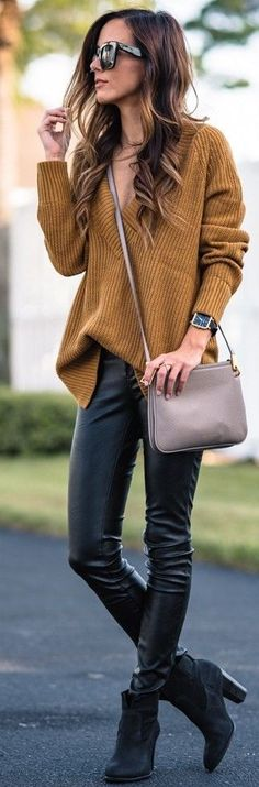 #trending #fall #outfitideas   Camel Knit + Black Leather
