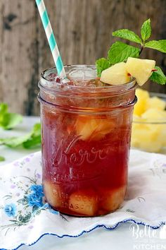 Sparkling Pineapple Passion Tea - If you like Tazo Passion Tea, then you will love this refreshing twist on your favorite drink! Made with three simple ingredients and perfect for sipping on this summer. Tazo Passion Tea, Passion Fruit Tea, Passion Tea Lemonade, Pineapple Tea, Frozen Pineapple, Fruit Drinks, Yummy Drinks, Beverages, Tea Drinks