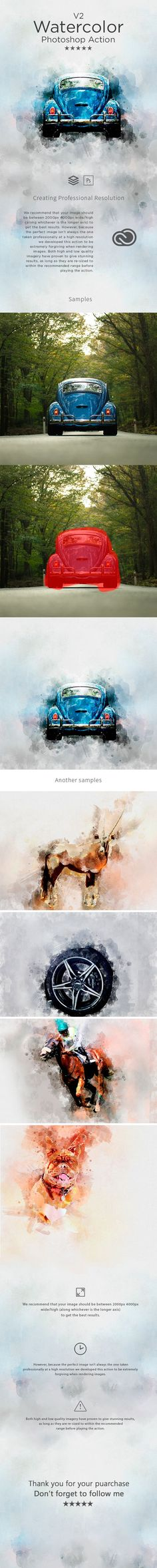 Watercolor V.2 Photoshop Action — Photoshop ATN #photoshop #water color • Available here ➝ https://graphicriver.net/item/watercolor-v2-photoshop-action/20682494?ref=pxcr