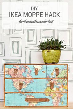 A fantastic IKEA Moppe hack with a vintage world map and leather draw pulls.  Full step by step DIY.  Great gift for those with wanderlust.
