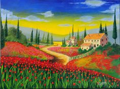 Tuscan Poppy Field Village Original Acrylic Painting by artbypeter