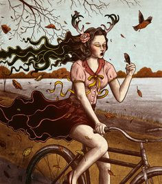 """""""Embrace"""" by Jared Tuttle Bicycle Print, Bicycle Girl, Bicycle Painting, Retro Bike, Cycling Art, Cycling Girls, Painting Of Girl, Bike Art, Pop Surrealism"""