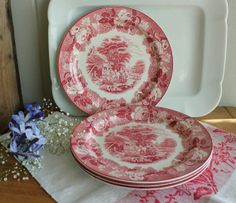 Antique Set of 4 English Pink Red by robinseggbleunest on Etsy,    ✿pinned by Colette's Cottage ✿