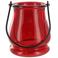 Light up your holidays with a red glass tea light holder. | Shop Hobby Lobby