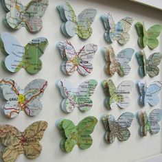 Items similar to The Places We've been - 16 Butterfly Custom Example - Vintage Map Butterfly Art on Etsy Map Crafts, Diy And Crafts, Arts And Crafts, Crafts With Maps, Butterfly Crafts, Butterfly Art, Butterfly Decorations, Butterfly Mobile, Paper Butterflies
