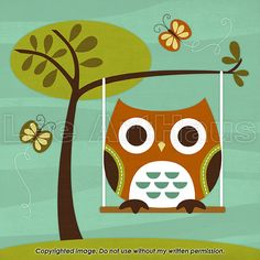 48R Retro Owl on Swing 6x6 Print por leearthaus en Etsy