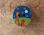 The Fox and the Moon - Wood Sewing Button - Large - International Shipping
