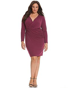 A sexy surplice neckline and shirred draped front make this 6th & Lane dress a flattering, versatile number for any occasion.  Long sleeves offer confident coverage for the season. Pull-on style with a seamed elastic waist. Fully lined. lanebryant.com