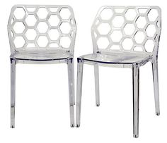 Clear Honeycomb Dining Chairs, Pair | Total Transparency | One Kings Lane