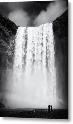 Waterfall in Iceland black and white Canvas Print for sale. Wonderful Skogafoss falls in Southern Iceland, black and white artwork with stark contrast, vertical format. The image gets printed directly onto a sheet of aluminum. Metal prints are extremely durable and lightweight. Matthias Hauser - Art for your Home Decor and Interior Design.