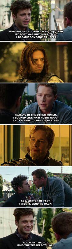 Once Upon a Time, Jefferson, Charming   Marvel, Fandaral, Winter Soldier   Josh Dallas, Sebastian Stan--I love mash ups