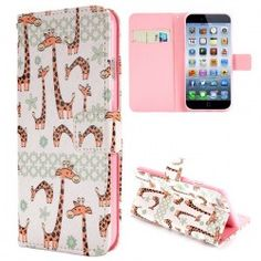 iPhone 6 Plus (5.5 inch) Giraffe Flip Cover, hoesje, case + Card clots