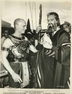 Yul Brynner and Charlton Heston in Egypt shooting the Exodus scene of The Ten Commandments.