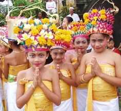 Balinese children dancers are involved in the parade of Melasti Ceremony and all are completely released on Bali Travel News