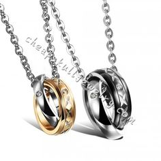 Hot Style Jewelry Couple CZ Stainless Steel Interlocking Double Rings Pendant Necklace online $32.99