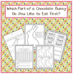 Freebie. Labeling the parts of a chocolate bunny, your students will have a chance to vote for the part of the chocolate bunny they like to eat first. Then, you graph the results and have students analyze the class results.