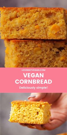 The best vegan cornbread with whole corn kernels. Its wonderfully moist and tender and makes the perfect side dish. Vegan Dessert Recipes, Vegan Recipes Easy, Vegetarian Recipes, Vegan Cornbread, Vegan Side Dishes, Vegan Meal Plans, Vegan Bread, Vegan Baking, Bread Baking