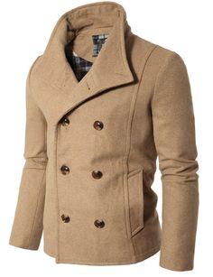Doublju Mens Casual Double PEA Wool Half Trench Coat Jacket.