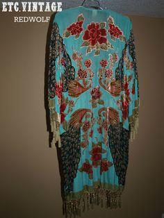 VINTAGE Turquoise Velvet Burnout Peacock Fringe Kimono Jacket. $275.00, via Etsy.