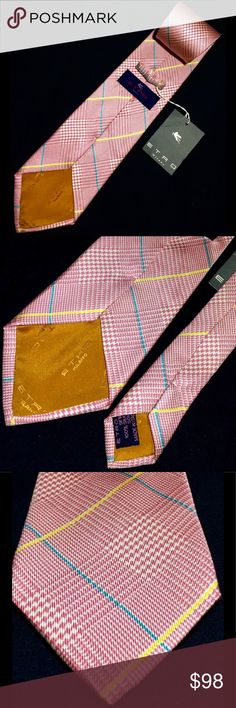 "Etro Milano Pink and Teal, Yellow Plaid Silk Tie Etro Milano Teal Yellow Plaid Print on Pink Silk Tie Made in Italy ( 58"" Long / 3 3/4"" Wide )  Thanks so much for your support. Good luck. Etro Accessories Ties"