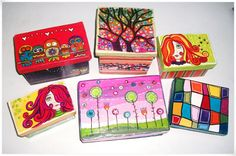 Inspiring Ways to Reuse Shoeboxes – 15 Cool Things to Make Painted Boxes, Wooden Boxes, Tole Painting, Painting On Wood, Cardboard Box Crafts, Diy Box, Keepsake Boxes, Cool Things To Make, Reuse