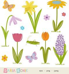 Flower Clip Art Set-flower clipart spring clipart by dariakonik Eps Vector, Vector File, Material Flowers, Spring Art, Flower Clipart, Flower Doodles, Mural Painting, Clips, Spring Flowers