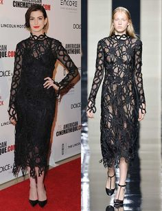 S/S 2015: Celebrities wearing the trends straight off the catwalk   Fashion, Trends, Beauty Tips & Celebrity Style Magazine   ELLE UK Anne Hathaway wearing Christopher Kane s/s 2015 to the American Cinematheque Awards in Beverly Hills, October 2015.