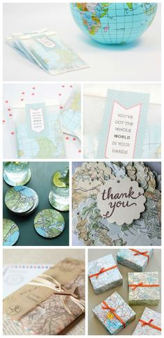 map parties, favors and gifts