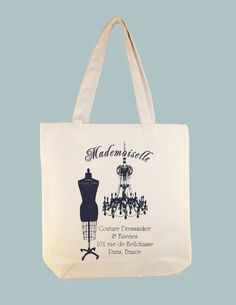 Mademoiselle Dressmaker, Dress Form Paris Typography Canvas Tote - other large zip top tote size, ANY IMAGE COLOR available