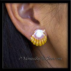 Light Yellow, White & Pink Sunrise Shell Post Earrings