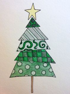 Handpainted Christmas Card Christmas tree by paperlovebyamanda
