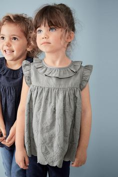 Pretty Cotton Broderie Blouse With Ruffle Collar | Next USA