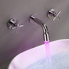 Farbwechsel LED Wasserfall verbreitet Waschbecken Wasserhahn (Wandmontage)